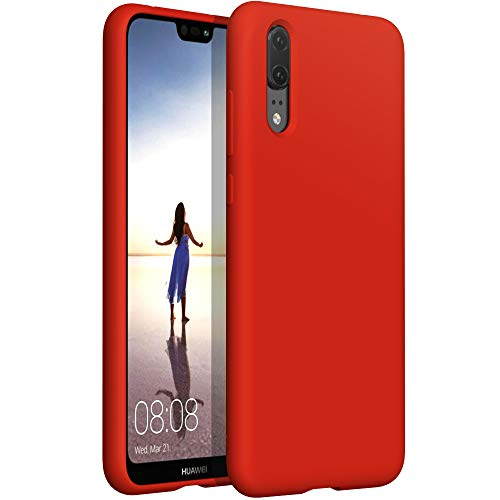 """YATWIN Funda de Silicona Compatible con Huawei P20 Lite 5.7"""", Carcasa Huawei P20 Lite Case, Carcasa de Sedoso-Tacto Suave, Protección Funda Protectora 3 Tapas Estructura, Rojo"""