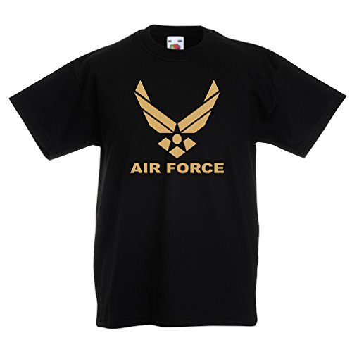 lepni.me Camiseta Niños/Niñas United States Air Force (USAF) - U. S. Army, USA Armed Forces (14-15 Years Negro Oro)