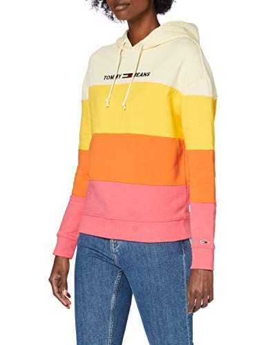 Tommy Jeans Tjw Colorblock Hoodie Suéter, Rosa (Glamour Rosa/Multi), XS para Mujer