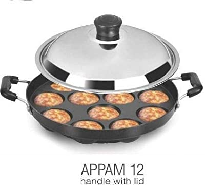 TOSMY Nonstick APPAM PATRA12 Cavity Side Handle with Stainless Steel LID