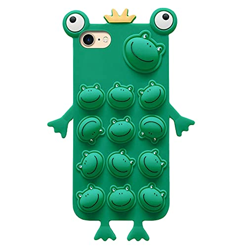 Pop Bubble Fidget Toys - Cover per iPhone 6/6S/7/8/SE 2020, Push Bubble Fidget Sensory, in silicone TPU, con motivo a rana 3D, in morbido silicone, resistente agli urti, per ragazze e donne