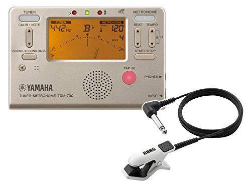 YAMAHAチューナーメトロノーム TDM-700G クリップマイク(ホワイト) 付き (ヤマハ TDM700G ゴールド)