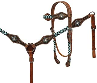 Showman Medium Oil Tooled Leather Headstall & Breast Collar w/Teal Beaded Overlays! New Horse TACK!