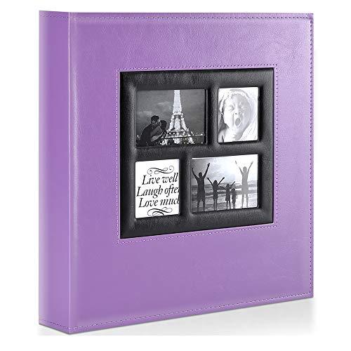 Benjia - Álbum de fotos, 10 x 15, 500 fotos, vintage, piel, tamaño grande, con compartimentos para insertar, páginas negras para 500 fotos (50 hojas/100 páginas, 5 fotos por página)