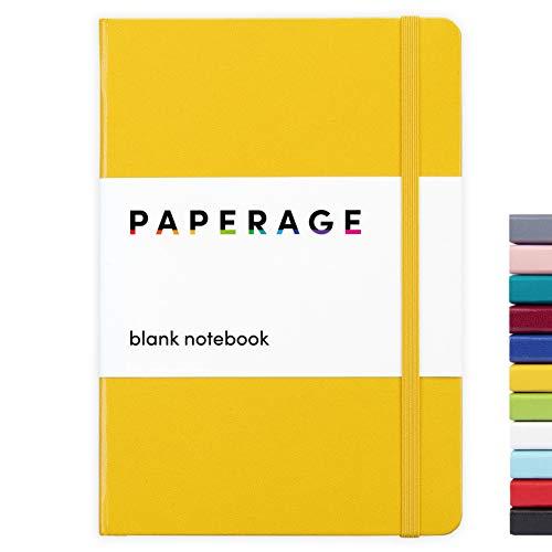PAPERAGE diario de página en blanco del cuaderno, cubierta dura, media 5,7 x 8 pulgadas, 100 gsm papel grueso (amarillo, normal)