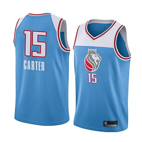 Maglie da Basket da Uomo, Sacramento Kings # 15 Vince Carter Uniformi di Basket NBA Magliette da Magliette Senza Maniche Gilet Top Traspiranti E Rapidi,Light Blue,M(170~175CM)