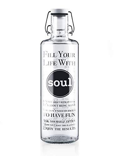 soulbottles 1,0l • Fill Your Life with Soul • Trinkflasche aus Glas • plastikfrei, nachhaltig, vegan