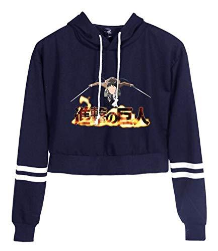 WANHONGYUE Anime Ataque a los Titanes Attack on Titan Hoodie Sudaderas con Capucha Cortas Mujer Niña Pullover Crop Top Suéter Sweatshirt Blusa 2B48/26-XS
