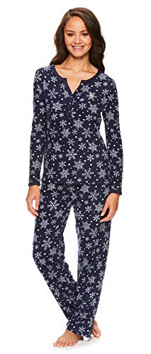 U.S. Polo Assn. Womens Casual Long Sleeve Shirt and Pajama Pants Sleep Sleepwear Set Dark Navy Large