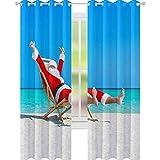 YUAZHOQI Cortina de ventana opaca de Navidad Santa Claus descansando en la tumbona en Ocean Sandy be Customized Cortinas de 132 x 274 cm
