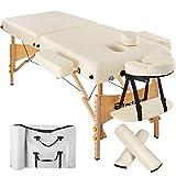 TecTake Massageliege 7,5cm reine Polsterung + 2 Lagerrungsrollen + Tasche -diverse Farben- (Beige)