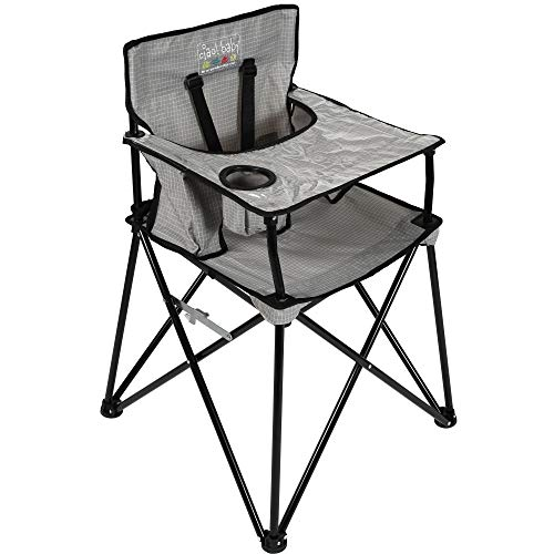 Cheap ciao! baby Portable High Chair for Travel, Fold Up High Chair with Tray, Grey Check