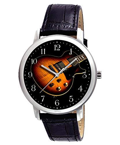 Hermosa arce guitarra eléctrica arte coleccionable de 40mm Reloj de pulsera, latón...