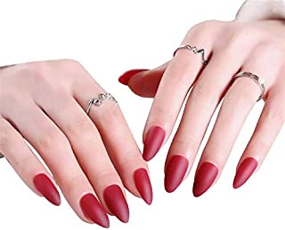 JINDIN 24 Sheet French Stiletto Matte Fake Nails for Women Acrylic False Nails Full Cover Press On Nails (Red)