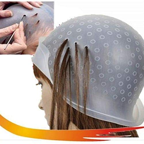 SDGDFXCHN Silikon-Hervorhebung Kappe wiederverwendbaren Salon Haarfärbung Hut mit Metall Haar Haken für das Färben von Haaren