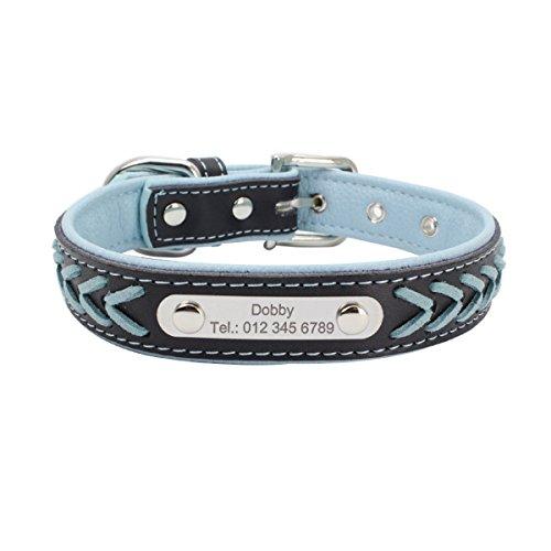 7Morning Leder Hundehalsband Hundemarke mit Personalisiert Edelstahlplatte,Hellblau,L
