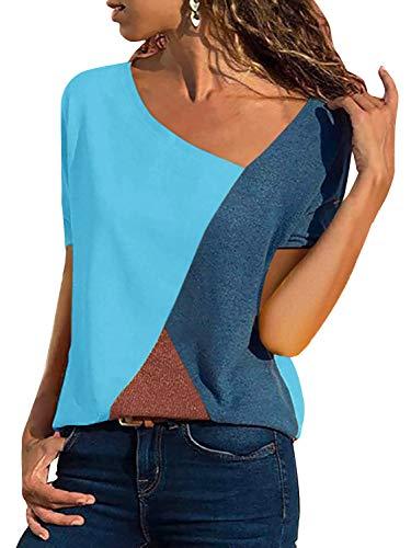 T-Shirt Damen V Ausschnitt Kurzarm Sommer Casual Farbblock T Shirt Top Bluse Oberteil (Kurzarm-Blau, X-Large)