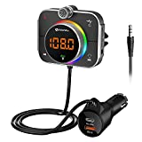 Bluetooth FM Transmitter for Car, SONRU Car Radio Bluetooth Adapter with QC3.0 & PD 20W Type C USB Charger, Hands-Free Call/Bass Booster, Noise Cancellation, Support TF Card AUX Output