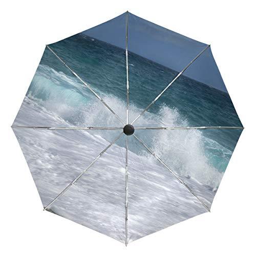 Paraguas de Viaje pequeño a Prueba de Viento al Aire Libre Lluvia Sol UV Auto Compacto 3 Pliegues Cubierta de Paraguas - Beach Wave Costa Sand Carboneras Almeria