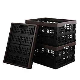 Dynko Plastic Crate, Foldable Storage Crate, Brown Fold Flat Crate, Set of 3