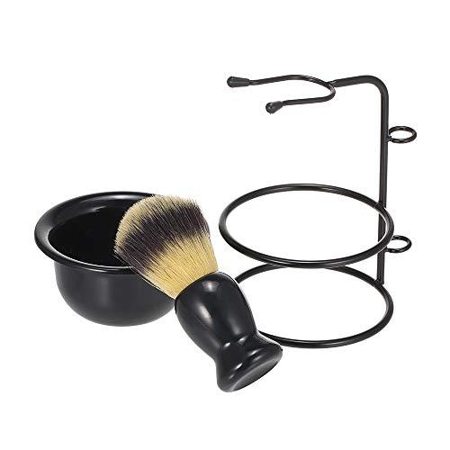 Ensemble de support et de bol de rasage en métal Porte-brosse de rasage Porte-savon en plastique pour hommes