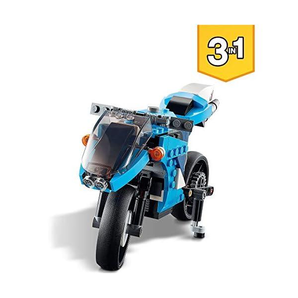 LEGO 31114 Creator 3en1 Supermoto Set de Construcción de Moto Moderna, Moto Clásica o Moto Voladora, Vehículo para Niños