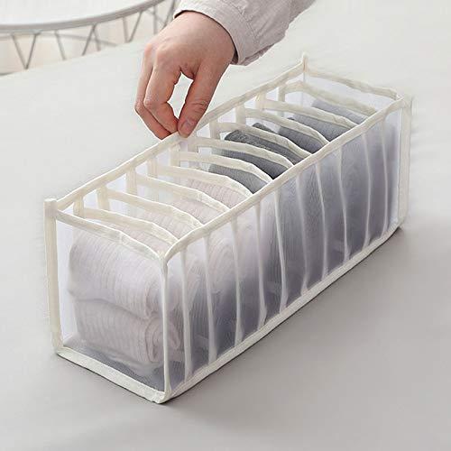 ZPTECH Drawer Organizers 1pcs Organizer Bra Storage Wardrobe Organizer Storage Bag Underwear Closet Organizer Bag Clothes Container 6/7/11 Grids (Color : 11 Cells White)
