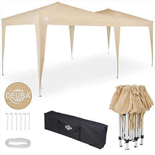 Deuba 3x6m Gazebo Pop Up Marquee Garden Outdoor Waterproof Canopy Festival Wedding Party Tent Awning Carry Bag (Beige)