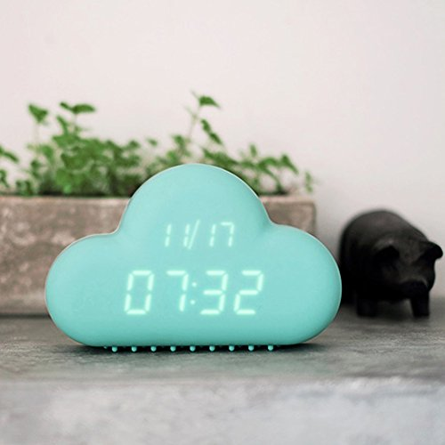 HILTOW Cute Cloud Alarm Clock,Creative Voice/Sound Control Led Clock for Students Kids Boys Girls with Time and Temperature,Rechargeable Always Display/Energy Saving Mode,Decoration Wall Clock,Blue