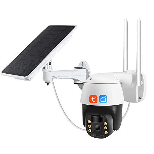 Jings Cámara de Seguridad inalámbrica para Exteriores, 1080P 4X Zoom PTZ CCTV Cámara, PIR Inducción Humana WiFi Cámara IP Seguridad para el hogar, Cámara Solar Impermeable para Exteriores