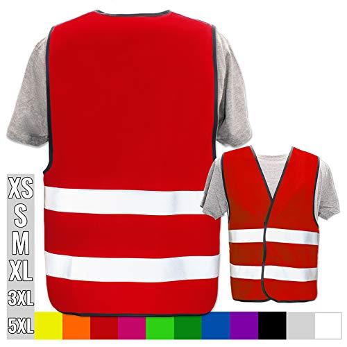 Hochwertige Warnweste mit Leuchtstreifen * Bedruckt mit Name Text Bild Logo Firma * personalisiertes Design selbst gestalten, Druckposition:OHNE Druck, Farbe Warnweste:Rot (M)