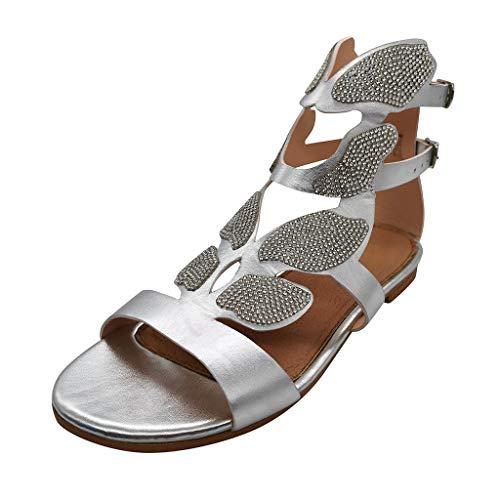 LuckyGirls Femmes Dames Mode Casual Cristal Bout Ouvert Strass Sandales Chaussures À Talons Bas