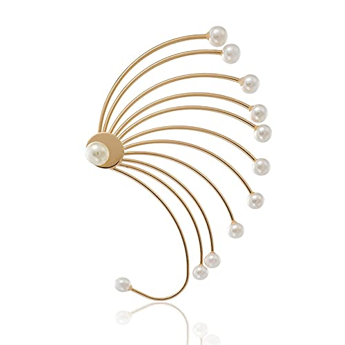 SMEJS Pendientes de perlas irregulares exagerados Temperamento Pendientes en forma de abanico grandes Pendientes individuales Disfraz de fantasía, Fiesta, Joyería de boda