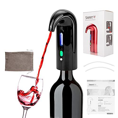 Iriisy Vertedor de aireador de Vino eléctrico, Vertedor de Vino tapón Dispensador de Vino automático Multi-Inteligente - Vertedor de aireación de Primera Calidad y Pico decantador - Negro