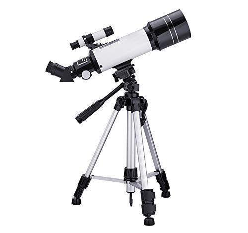 MOOLUNS Telescopio Astronómico, Adultos,para Niños Principiantes,Telescopios Refractores Astronómicos De 70mm, Monocular, con Trípode Ajustable En Altura, Soporte para Teléfono,Blanco