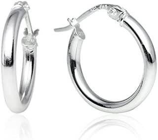 LOVVE Sterling Silver High Polished Round-Tube Click-Top Hoop Earrings, All Sizes