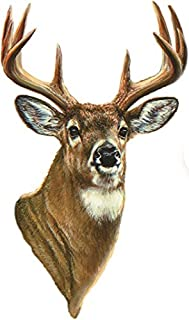 7 Inch Whitetail Buck Deer Head 10 Point Antlers Hunting Removable Peel Self Stick Wall Decal Sticker Art Hunt Hunter Rustic Lodge Cabin Outdoor Wildlife Nature Home Decor 4x7 inch