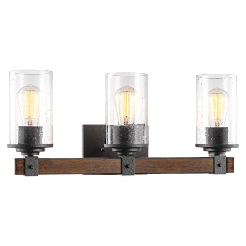 "Kira Home Brentwood 30"" 6-Light Rustic Kitchen Island Light Pendant Chandelier + Seeded Glass Shades, Wood Style Linear Metal Frame, Oil Rubbed Bronze + Walnut Style Finish"