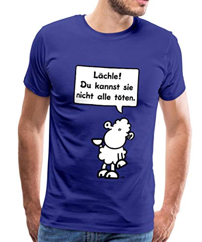 Sheepworld Lächle! Du Kannst sie Nicht alle töten Männer Premium T-Shirt, S, Königsblau