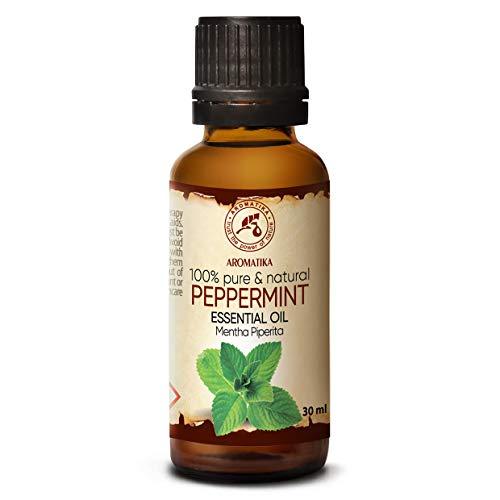 Aceite Esencial de Menta 30ml - Mentha Piperita - India - 100% Puro y Natural - Aceites Esenciales de Menta para Alivio del Estrés - Sauna - Relajación - Spa - Difusor Aromático - Lámpara de Aroma