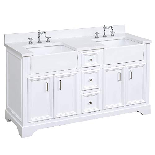 Zelda 60-inch Double Bathroom Vanity (Quartz/White): Includes White Cabinet with Stunning Quartz Countertop and White Ceramic Farmhouse Apron Sinks