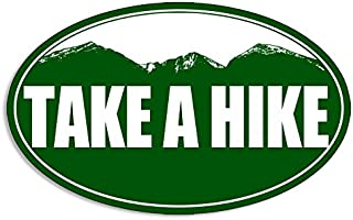 American Vinyl Green Oval TAKE A Hike Sticker (Funny Hiking Mountains)