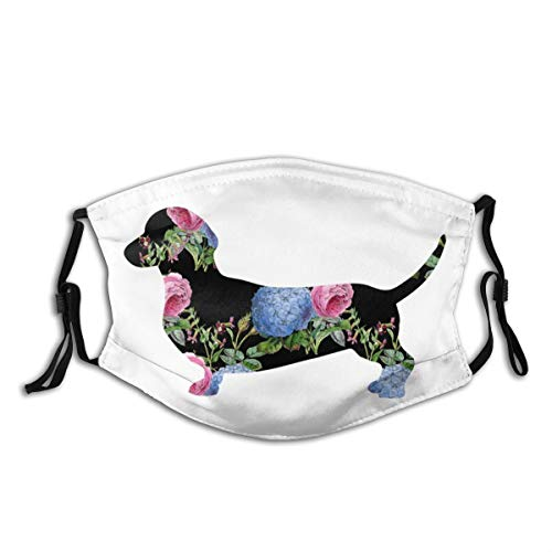 Dachshund Dog Face Mask for Adults,Washable Face Bandanas Balaclava Reusable Fabric Protection With 2 Filters