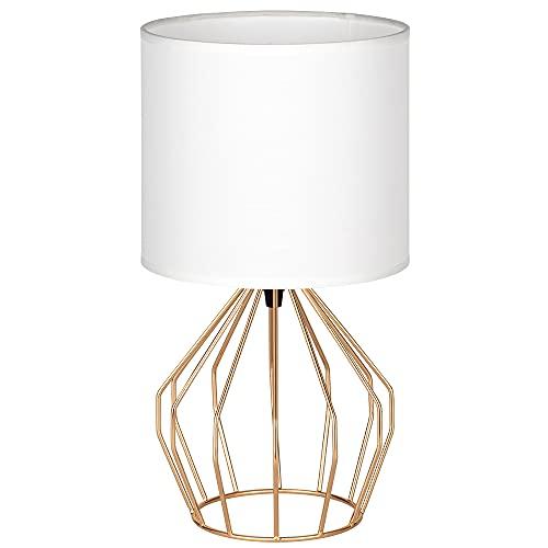 Tischlampe, Mini Nachttischlampe, Vintage Tischlampe Table Lamp , Leselampe mit Stoffschirm für Wohnzimmer, Schlafzimmer, Mädchenzimmer, Rosa