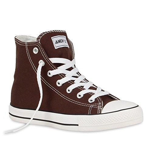 stiefelparadies Herren Sneakers High Top Denim Sportliche Turn Schnürer Schuhe 55385 Dunkelbraun 43 Flandell