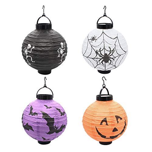 Yuhtech Lampions, Laterne mit Halloween Motiven, Papierlaterne für Sankt Martin und Halloween