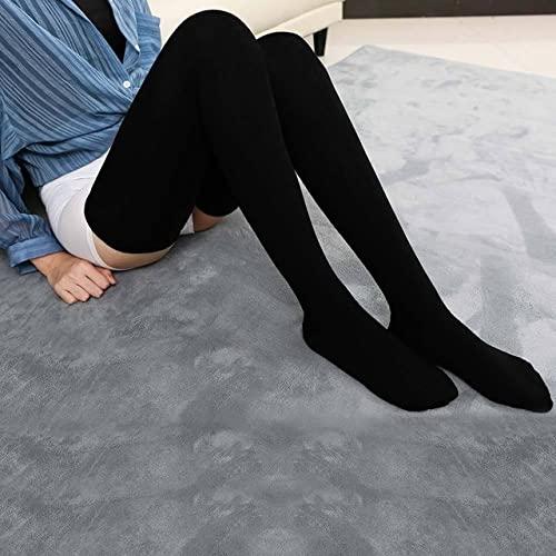Generic Medias Sexy Calcetines De La Rodilla Mujer De Algodón Muslo Alto sobre Las Medias De La Rodilla para Damas Cálidas 80 Cm Super Long Longsting Sexy-BK,One Size