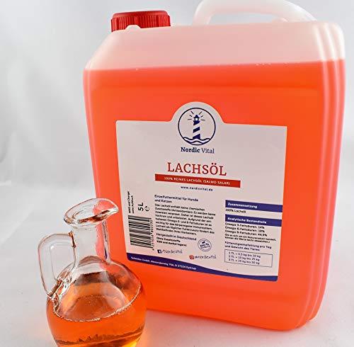 NordicVital Lachsöl 5 Liter Kanister für Hunde, Katzen und Pferde 100{8cd4cec921d89445e7ab32d782e3c02b007eb87bdb7996b7c0e7a3c407b10f81} kaltgepresste Premiumqualität - reich an Omega 3 6 und 9 Fettsäuren, Barföl Ergänzung, Naturprodukt