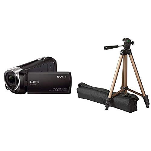 Sony HDR-CX240E HD Flash Camcorder (Full HD, EXMOR R CMOS Sensor, 9,2 Megapixel, BIONZ X Bildprozessor) schwarz & AmazonBasics 127cm (50