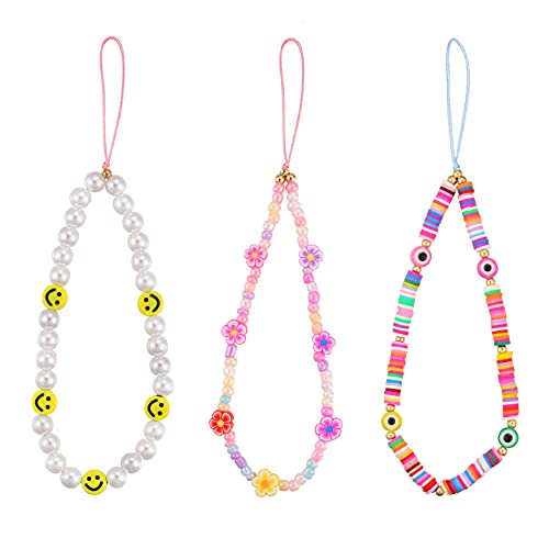 Honsny Beaded Phone Charm Smiley Face Bead Phone Lanyard Wrist Strap Fruit Star Pearl Rainbow Color Decoration Accessories Y2K Acrylic Beaded Phone Chain String for Women Girls